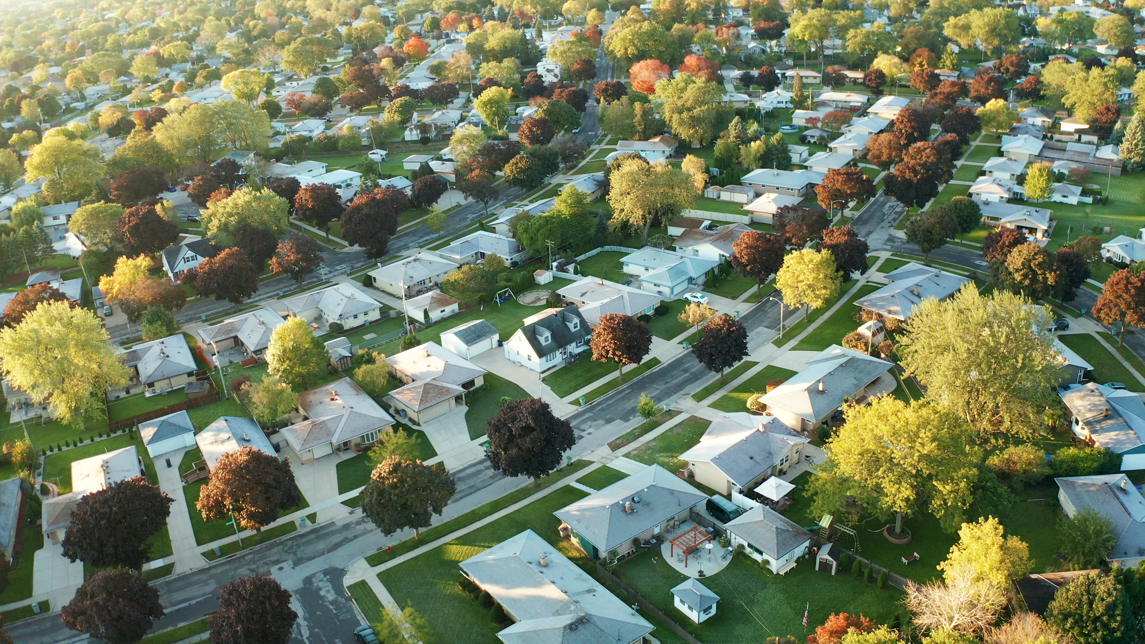 An aerial photograph of a neighborhood